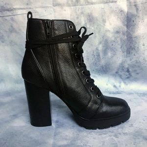 ✨Steve Madden Black Leather Laurie Combat Bootie